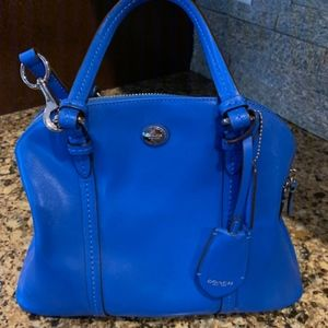 Bright Blue Leather Coach Bag